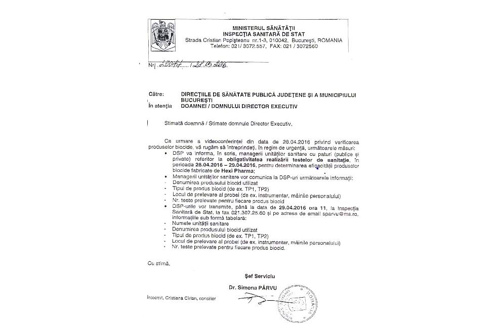 Documentul primit de Direcțiile Județene de Sănătate de la Inspecția Sanitară de Stat