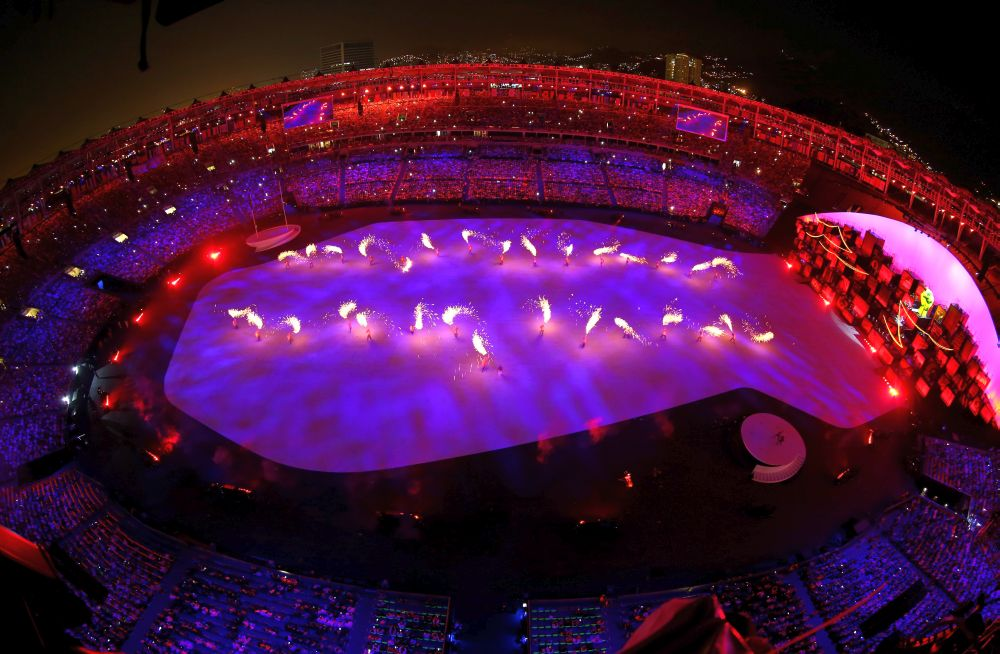 RIO DE JANEIRO, BRAZIL - AUGUST 05: Dancers perfrom during the Favela Voices segment of the Opening Ceremony of the Rio 2016 Olympic Games at Maracana Stadium on August 5, 2016 in Rio de Janeiro, Brazil. (Photo by Ian Walton/Getty Images)