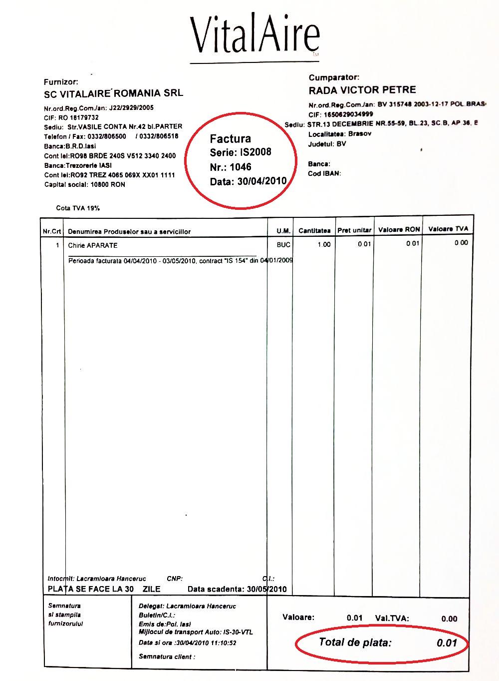 În a doua factură apare suma de 0,01 lei, care se înregistra în contabilitate