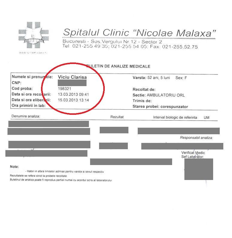 Unul din buletinele de analize ale Clarisei Viciu, făcute la Spitalul Malaxa