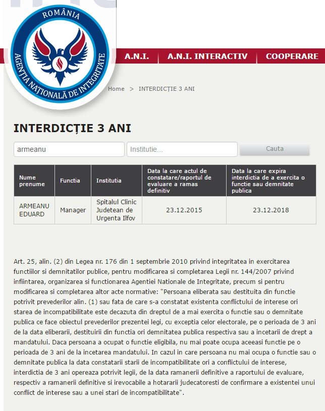 Captură de pe site-ul A.N.I. cu interdicția lui Armeanu de a exercita o funcție sau demnitate publică