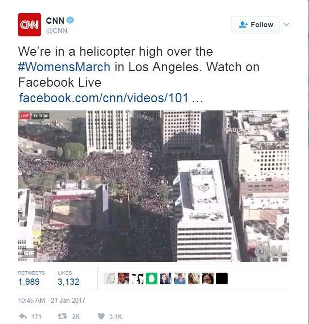 Marșul văzut din elicopterul CNN în Los Angeles