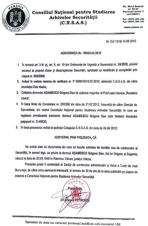 Adeverința CNSAS atestă că nu există dovezi de colaborare cu Securitatea pentru Adamescu sr.