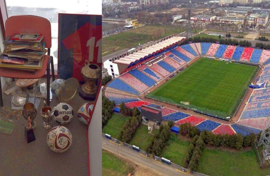 Imagine din martie 2016: cele mai importante trofee din istoria Stelei, ținute pe jos la tribuna oficială a arenei din Ghencea.