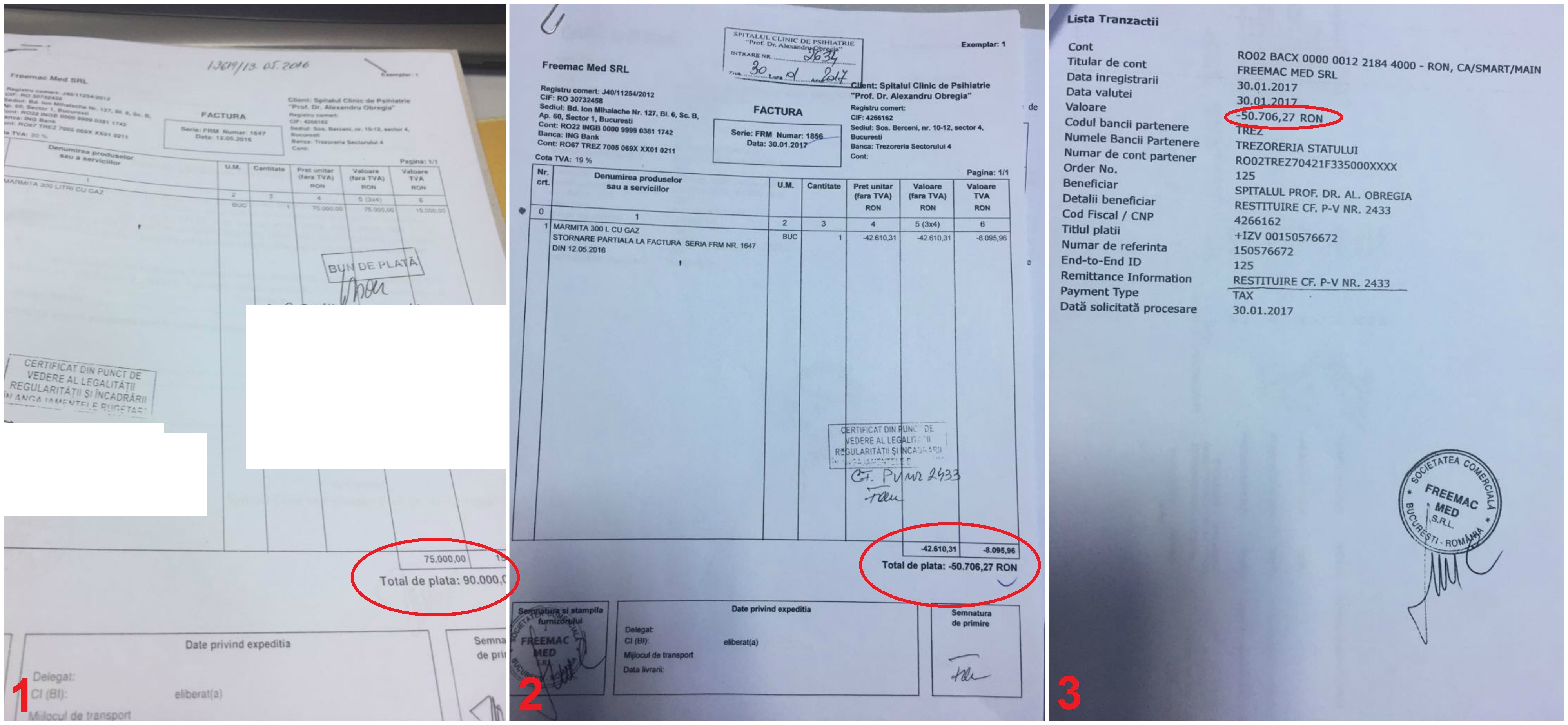 Cazul marmita: factura de cumpărare cu 90.000 de lei de la Freemac în 2016 (1), stornarea în valoare de 50.706 lei din ianuarie (2) și dovada plății din partea firmei Freemac (3).
