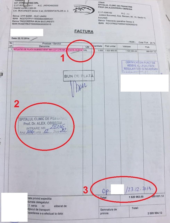 Factura cu AF Consulting SRL din iarna lui 2014. Contractul e încheiat pe 15 decembrie (1), lucrările se realizează până pe 19, facturarea are loc pe 22 decembrie (2), iar plata se face pe 23 decembrie (3)