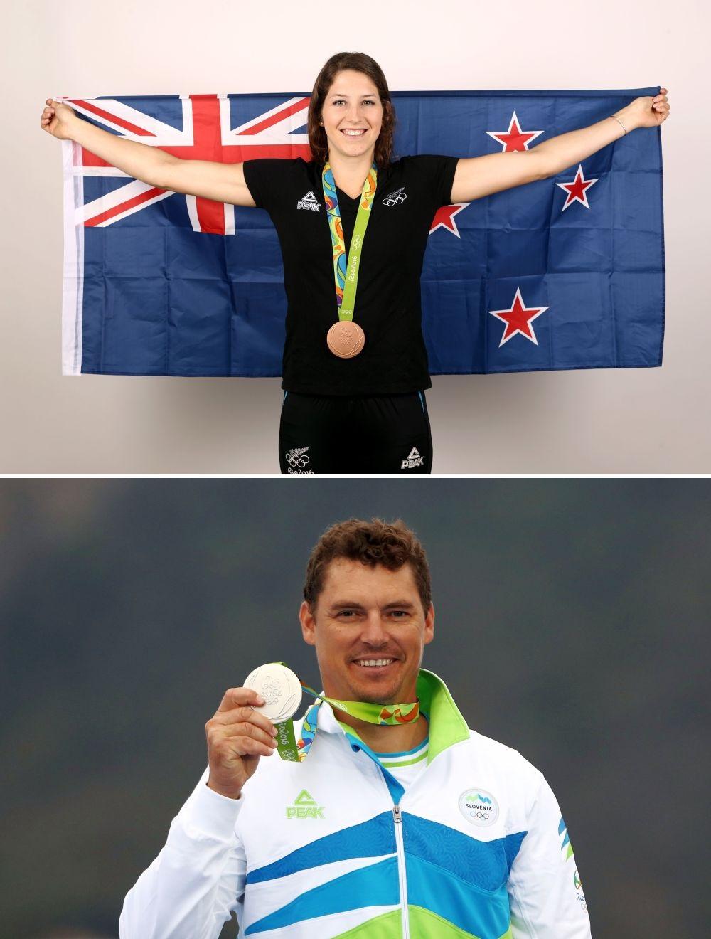 Slovenul Vasilij Zbogar (argint la yahting) și neozeelandeza Eliza McCartney (bronz la prăjină) în echipament Peak la Rio 2016