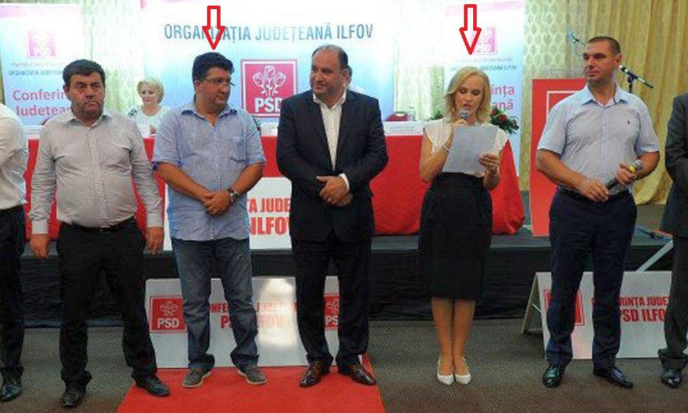 Armeanu, al doilea de la stânga la dreapta, o ascultă pe Gabriela Firea la o întâlnire a organizației județene PSD Ilfov