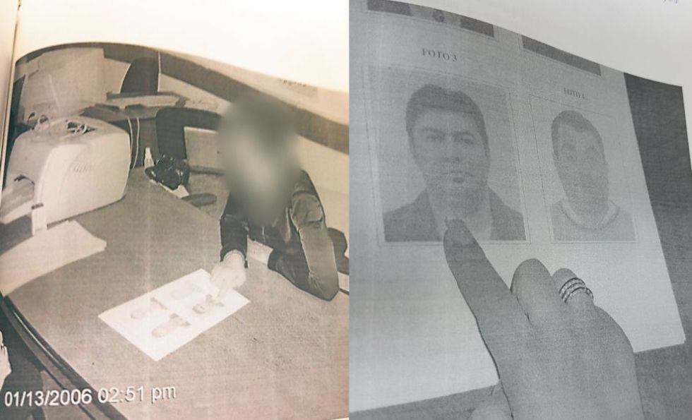 """Momentul în care una dintre fetele care se prostituau pentru rețeaua de la """"Shanghai"""" îl recunoaște pe polițistul Ion Craiu. Fotografie din dosarul aflat în posesia unuia dintre avocați."""