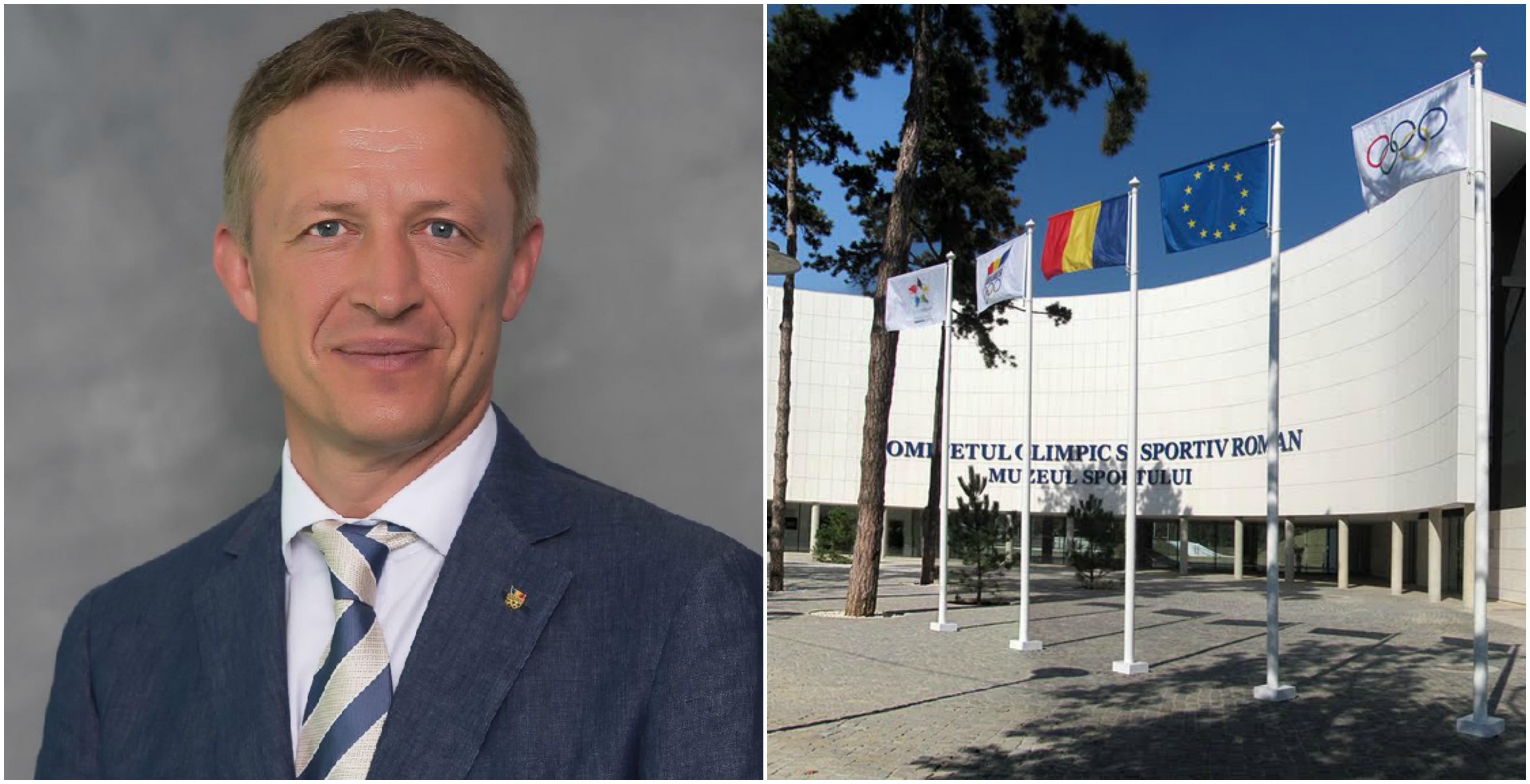 Fostul președinte COSR Octavian Morariu, astăzi membru al CIO, și sediul forului din nordul Bucureștiului