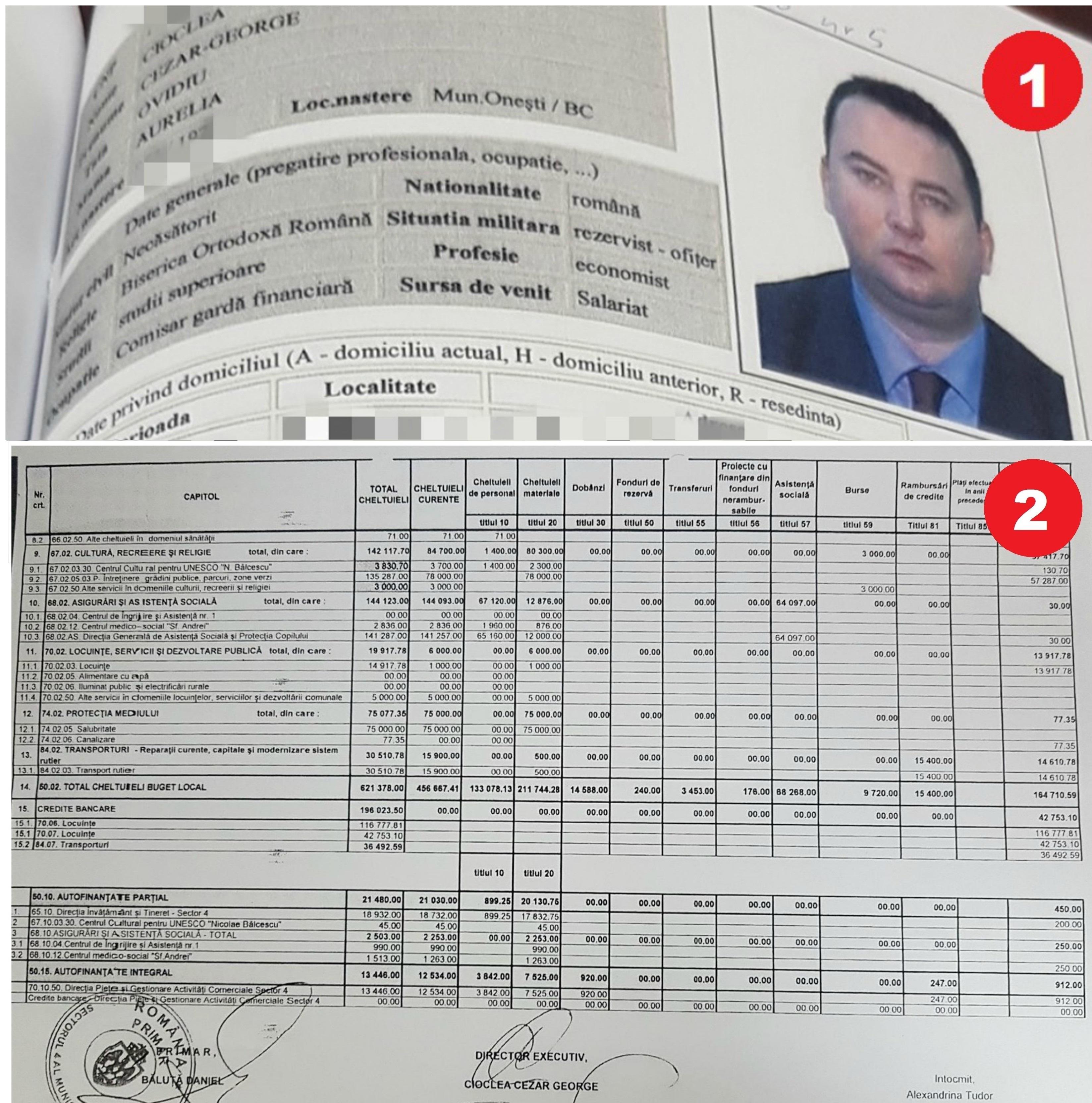 FACSIMIL 1. Fișa întocmită de DIICOT în 2005, în urma filării și monitorizării lui George Cioclea, unul dintre ofițerii care protejau rețeaua chinezilor. FACSIMIL 2. La 13 ani distanță, semnătura lui George Cioclea apare pe bugetul de 621 de milioane de lei, 140 de milioane de euro, al cetățenilor Sectorului 4. Uneori, lucrurile pot fi spuse simplu: pentru că justiția nu și-a făcut treaba și a clasat cazul în 2009, în 2013 Cezar Cioclea poate avea această răspundere uriașă.