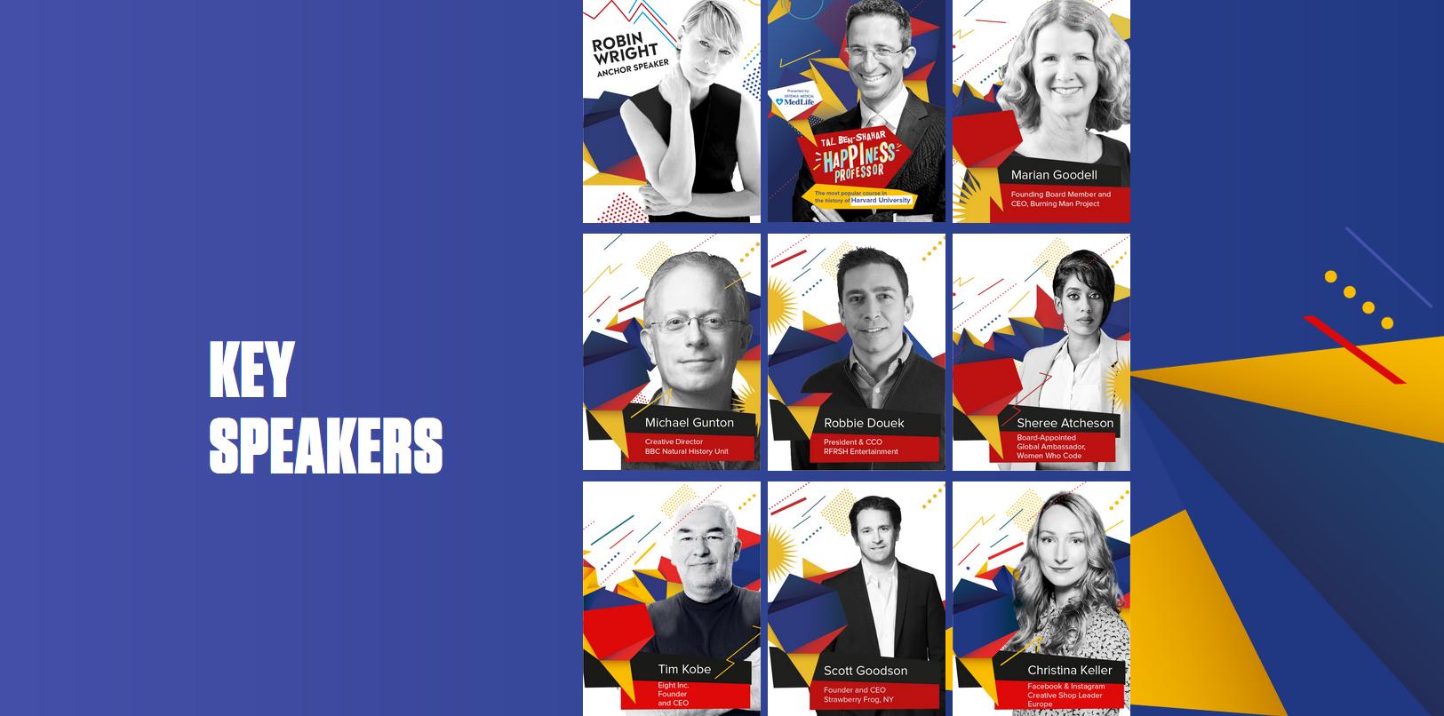 Când deschizi siteul conferinței, http://www.creativity4better.com/, apare Robin Wright, dar nu apare, în prima pagină, tocmai numele celui care este Star Speaker