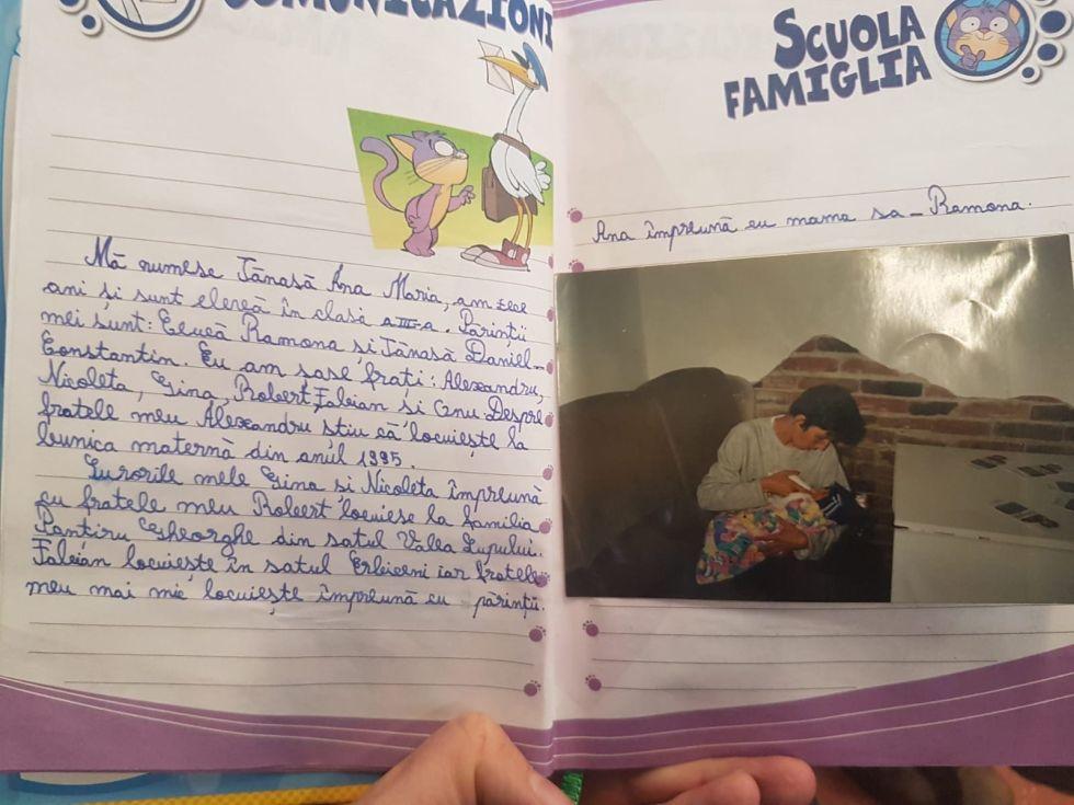 Primele două pagini din jurnalul pe care Ana Maria Tănasă l-a ținut de la 10 ani până la 15 ani, când a paralizat, în urma accidentului de pe trecerea de pietoni