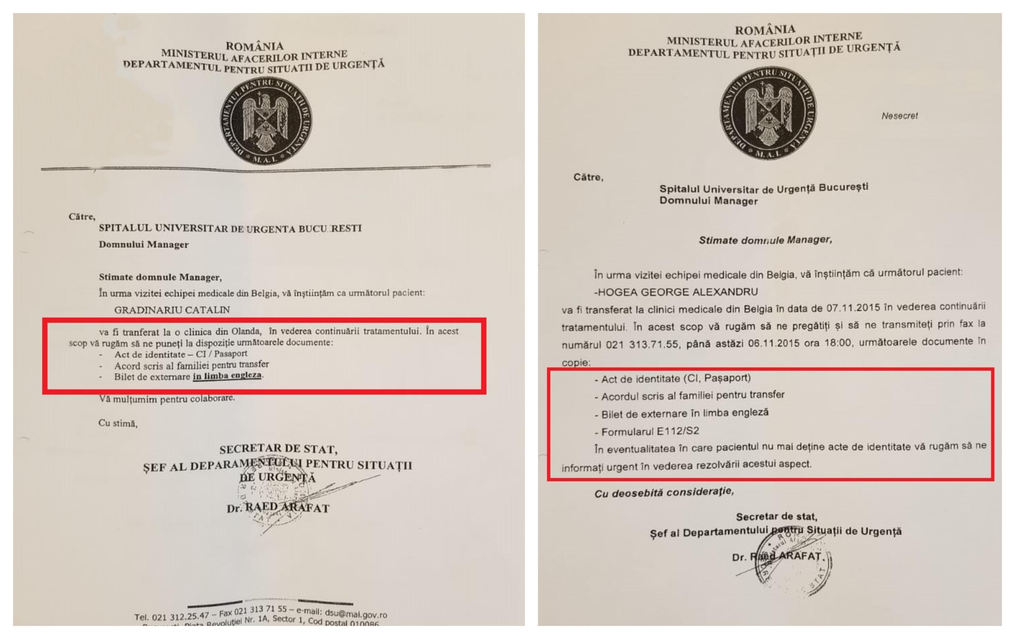 Adresele trimise de către Raed Arafat, șeful DSU, către Spitalul Universitar: pentru transferul în Belgia al lui Hogea (dreapta) a fost nevoie și de formularul E112/S2, în timp ce pentru al lui Grădinariu era necesar doar buletinul, acordul familiei și un bilet de externare
