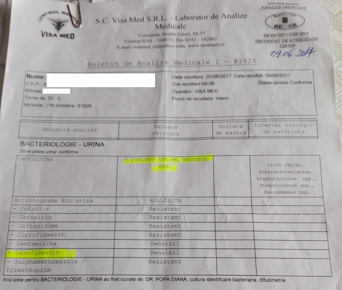 Infecția cu Proteus, scoasă în evidență pe antibiograma eliberată de centrul medical Visa Med