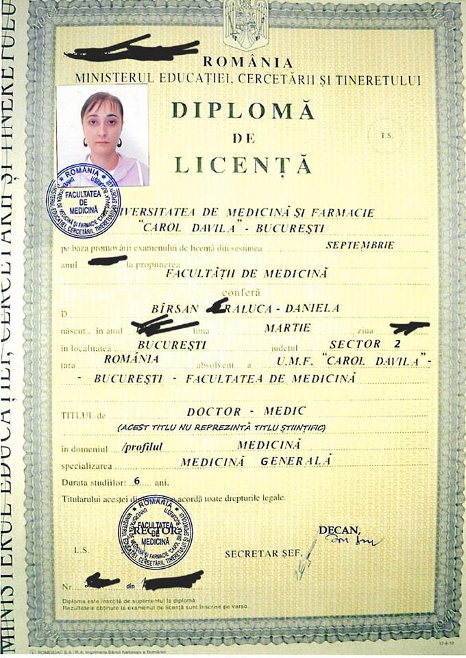 Diploma de licență trimisă de Raluca Bîrsan reporterilor Libertatea și inclusă la dosarul acesteia din Spitalul Județean Ilfov