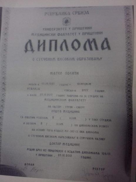 Diploma pe care Matteo Politi a prezentat-o autorităților române este scrisă în chirilică