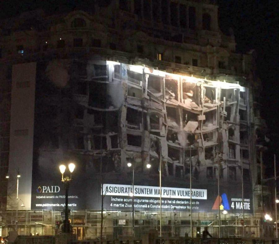 Așa arăta bannerul publicitar care arăta imaginea clădirii după cutremur