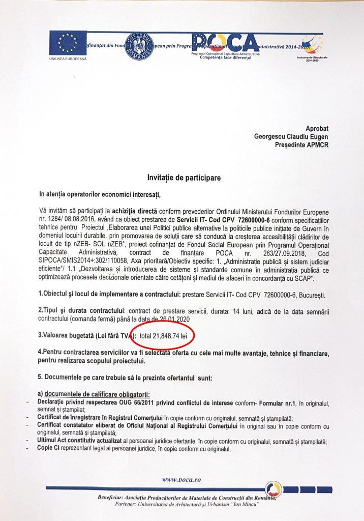 """În documentul prin care Asociația Producătorilor de Materiale de Construcții lansează achiziția apare suma de 21.848,74 lei, din care Claudiu Georgescu spera să i se """"întoarcă"""" în jur de 9.000 de lei"""