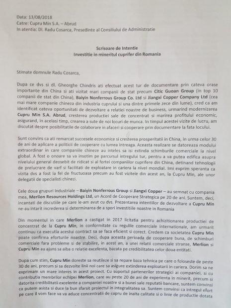 Scrisoarea de intenție trimisă de chinezi către Cupru Min, la câteva zile după întoarcerea în țară a celor doi directori români, Coșarcă și Chindriș