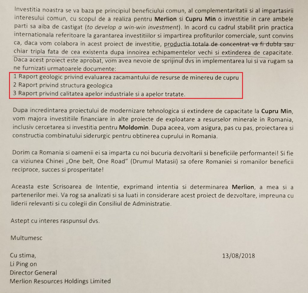 În pagina a doua a scrisorii de la Merlion, chinezii cer rapoartele geologice de care au nevoie, în cazul aprobării proiectului