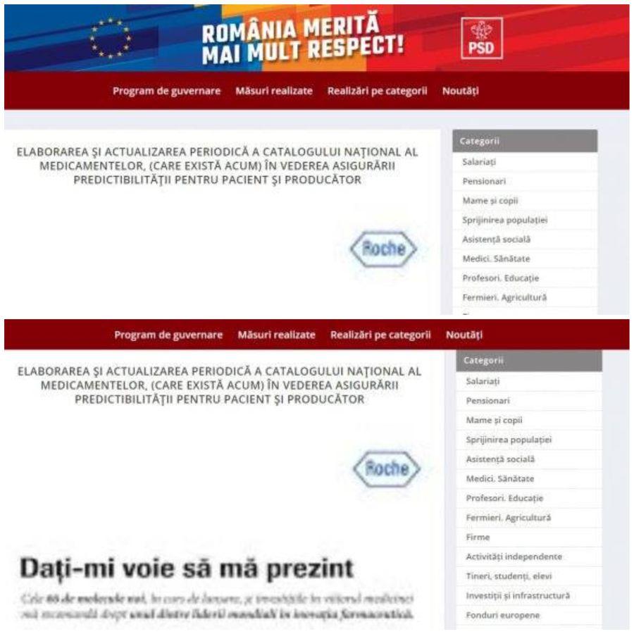 Sigla Roche apare pe site-ul PSD și nu este vorba de o reclamă, ci de o inserție grafică în text