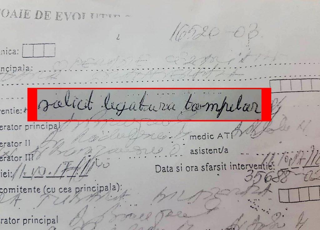 "The patients evolution chart, where Florentina Pătru wrote: ""I solicit the tubes ligation"" | Photo: Libertatea"