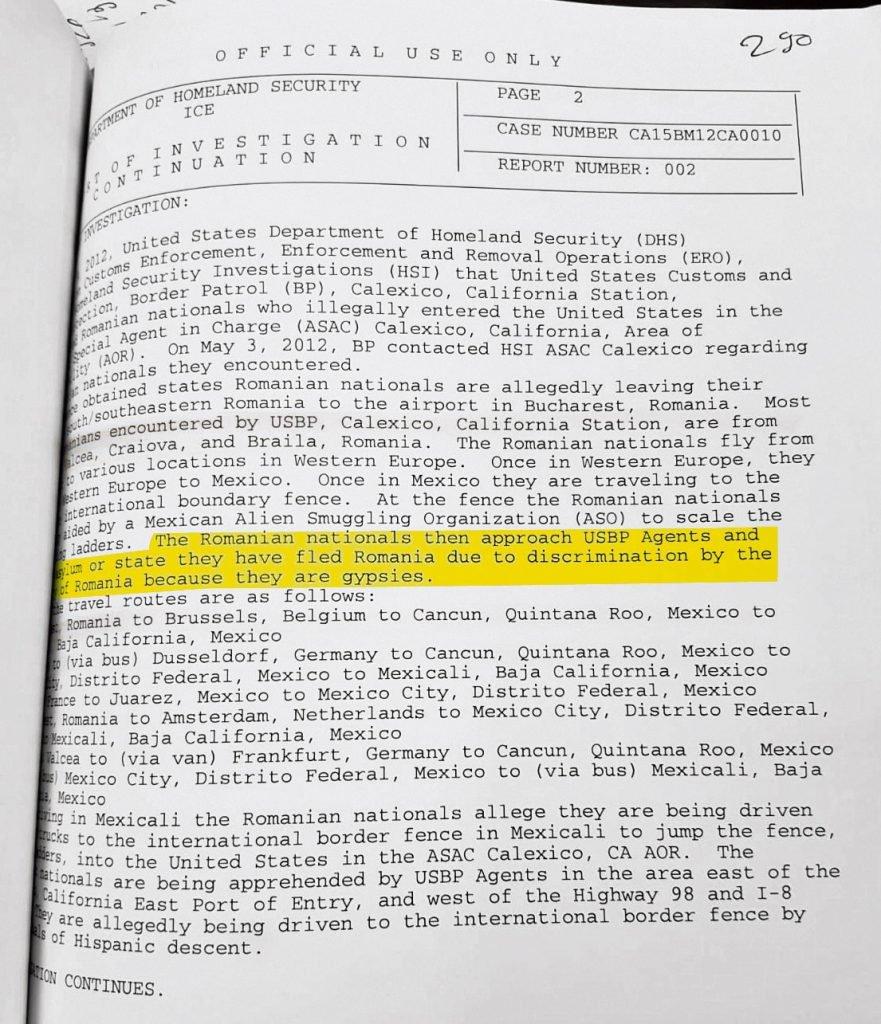 Document prin care US Department of Homeland Security, echivalentul Ministerului de Interne din România, descrie felul în care sunt traficați cetățenii românii, care ajung să ceară azil politic în SUA