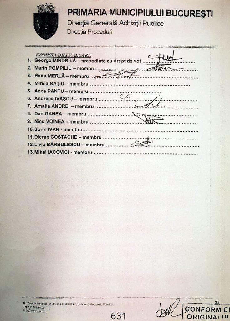 Raportul de conciliere a fost semnat de 6 din cei 13 membri ai comisiei de evaluare