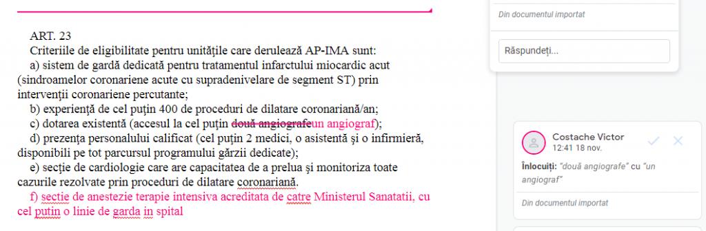"""Captură din documentul Google în care ministrul Costache a înlocuit """"două angiografe"""" cu """"un angiograf"""""""