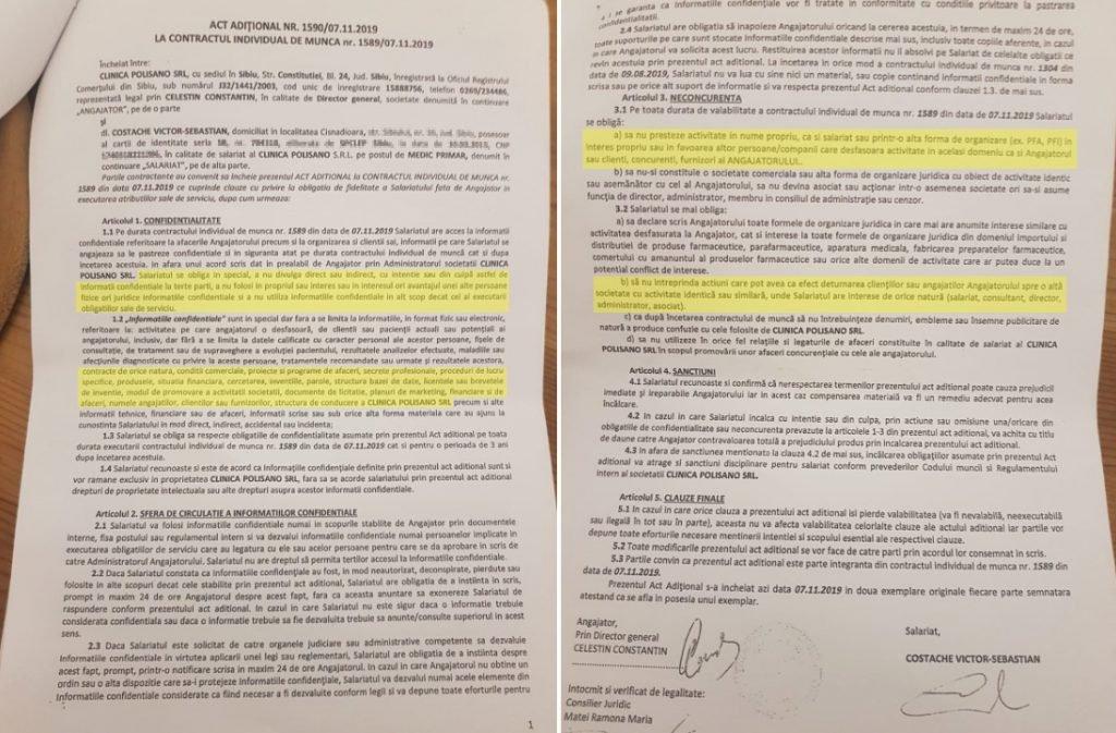 Actul adițional la contracul ministrului Victor Costache cu Clinica Polisano