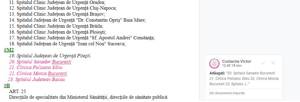 Captură din Documentul Google în care ministrul Costache a adăugat patru spitale, inclusiv Clinica Polisano