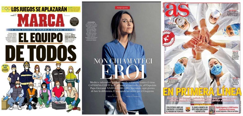 Coperțile din ziarul spaniol Marca, revista Elle Italia și ziarul AS, dedicate celor care luptă cu COVID-19