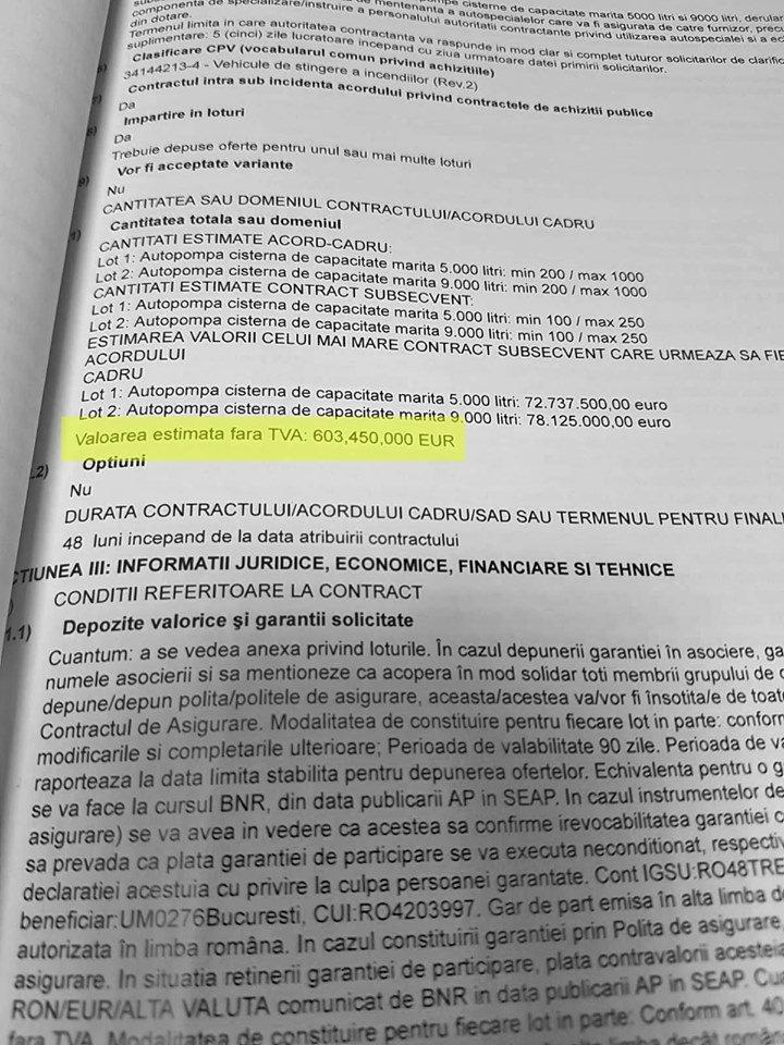 În fișa de date a licitației, publicată în 12 ianuarie 2018, prețurile apar fără TVA, ca în toate documentele achiziției publice de 600 de milioane de euro