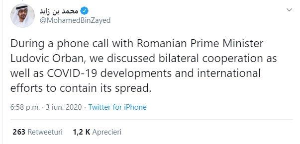 Postarea pe Twitter a lui Mohamed Bin Zayed. MBZ este șeful armatei și serviciilor secrete din Emiratele Arabe Unite, cea mai occidentalizată dintre țările din Golful Persic