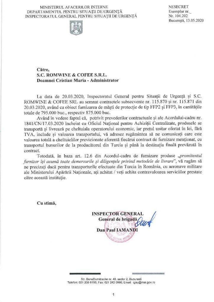 Șeful IGSU a trimis abia pe 15 mai, când controalele erau deja pornite, o scrisoare prin care se interesează cine a plătit cele 8 transporturi făcute de Armată