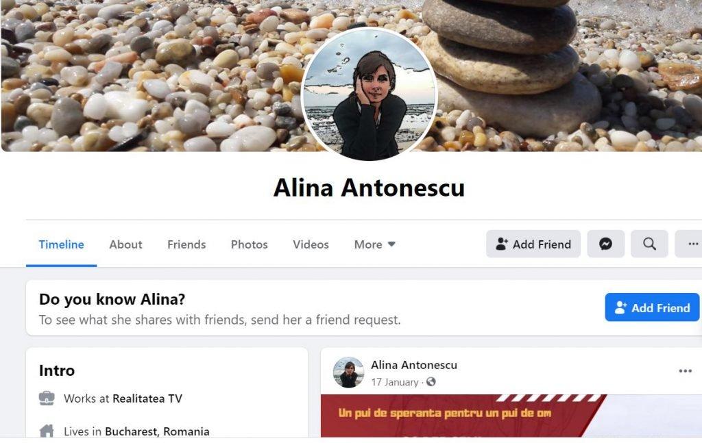 Contul de Facebook al Alinei Antonescu arată că proprietara firmei care deține compania din Canada lucrează la Realitatea TV