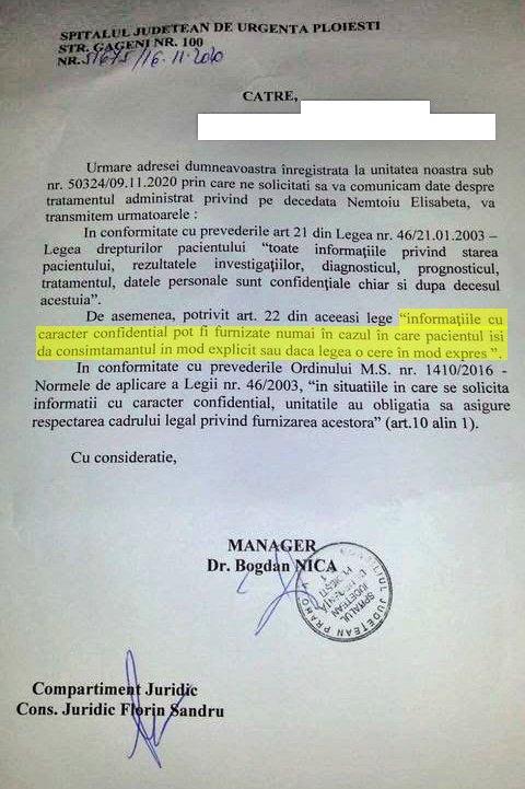 Documentul prin care managerul dr. Bogdan Nica a refuzat să dea familiei Nemțoiu dosarul medical al Elisabetei Nemțoiu Citeşte întreaga ştire: A cerut dosarul medical al mamei moarte de COVID, iar managerul spitalului i-a spus că-l poate elibera numai cu acordul decedatei