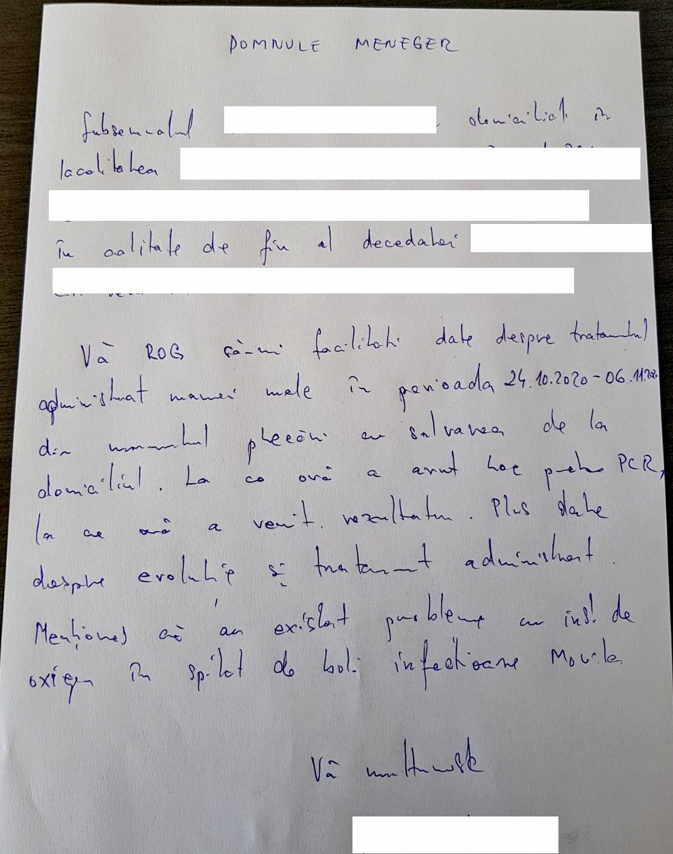 Cererea fiului Elisabetei Nemțoiu de a primi dosarul medical cu evoluția stării mamei sale