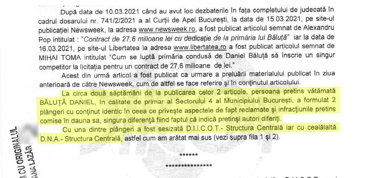 Daniel Băluță a trimis două plângeri cu conținut identic la DIICOT și la DNA, scrie în ordonanța de clasare a DIICOT